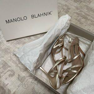 Manolo Blahnik Shoes - Manolo Blahnik Bayan Strappy Metallic Sandals
